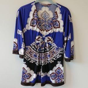 Hale Bob royal blue multi tunic